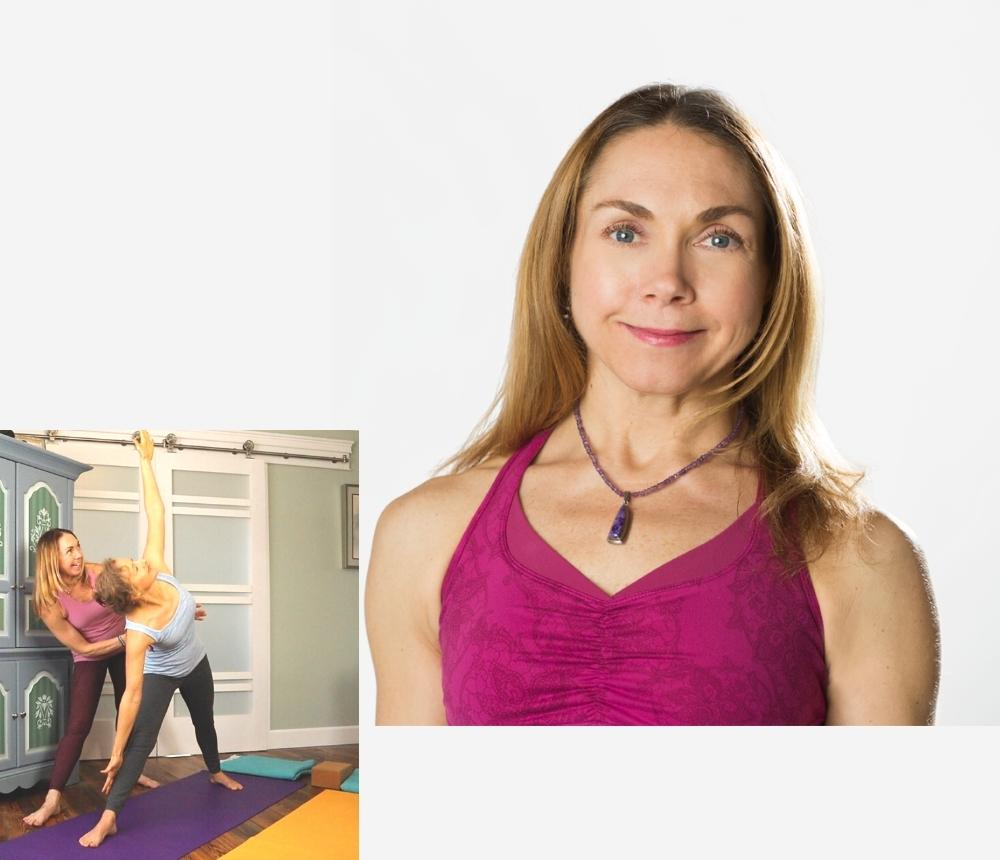 Marla headshot and with private yoga student